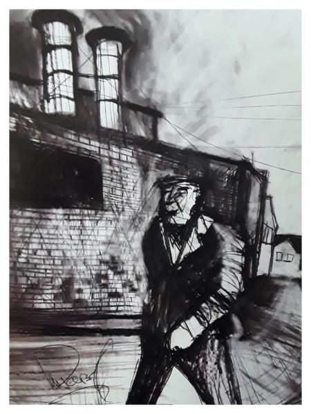 Pearsall, Ian R. (1967 – ) Homeward after work (Longton streets) - Trent Art