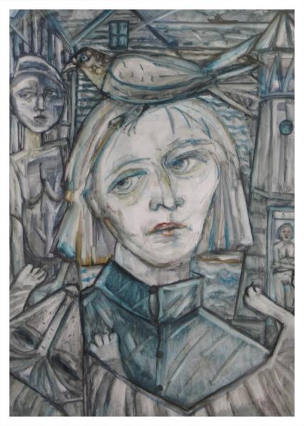 Cairns, Joyce W RSA Hon.RBA RSW MA(RCA) (1947 - ) North East Village - Trent Art