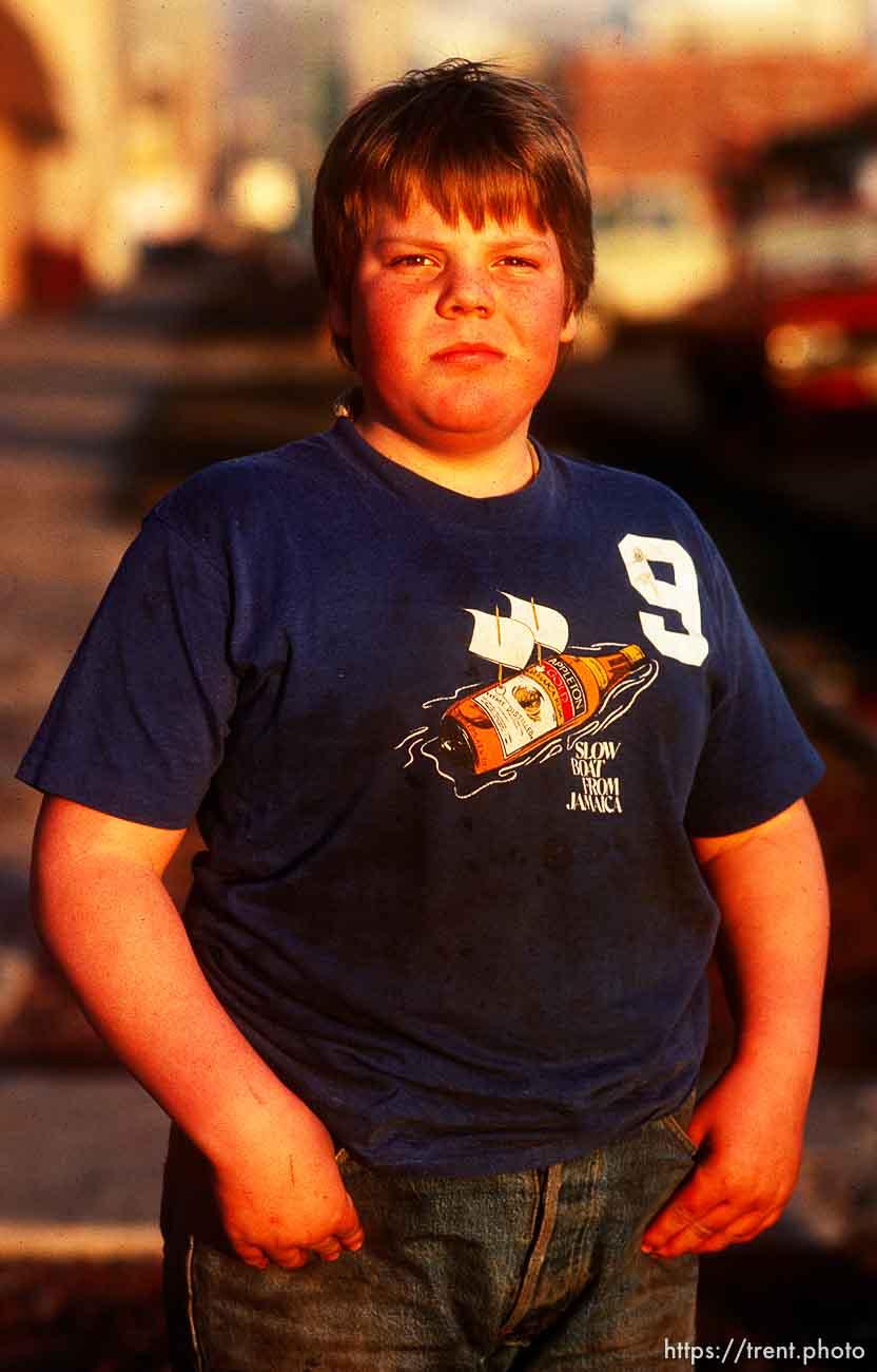 Kid on street, march 1988.