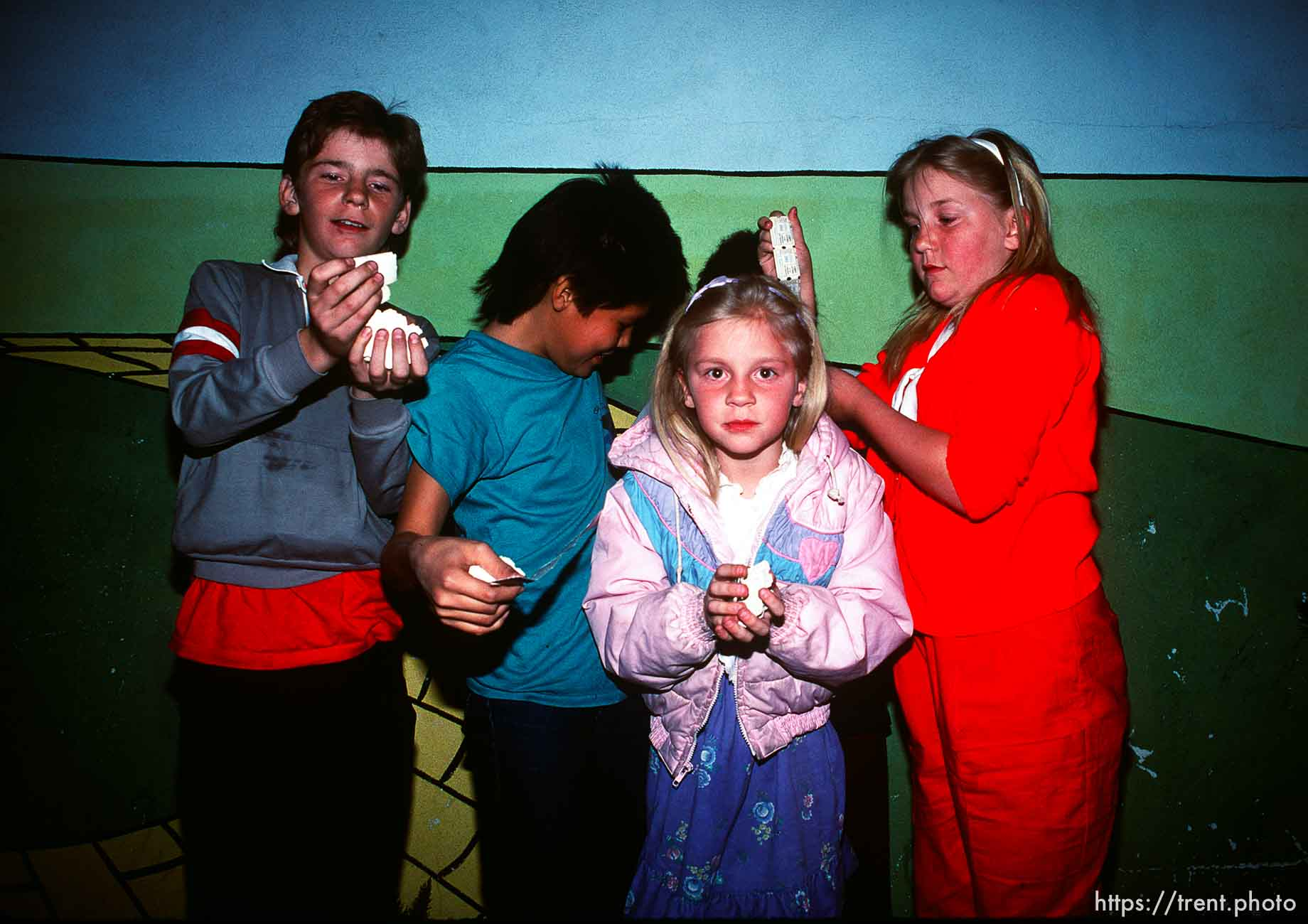 Kids with tickets from Trolley Games, march 1988.
