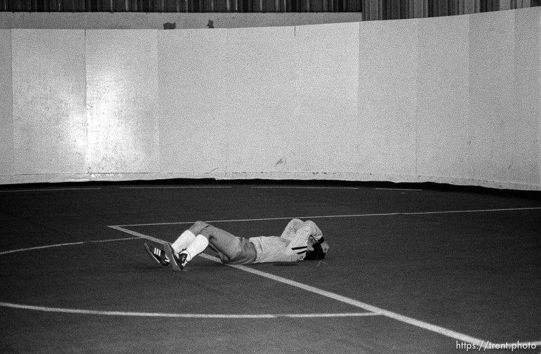 Anguished goalie at an indoor soccer tournament.