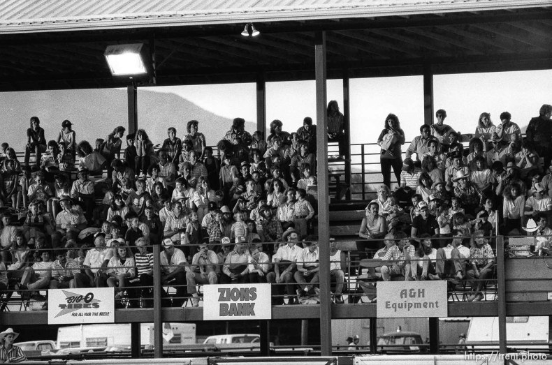 People in the stands at the Spanish Fork Fiest Days rodeo.