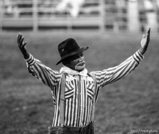 Rodeo clown at the Spanish Fork Fiest Days rodeo.