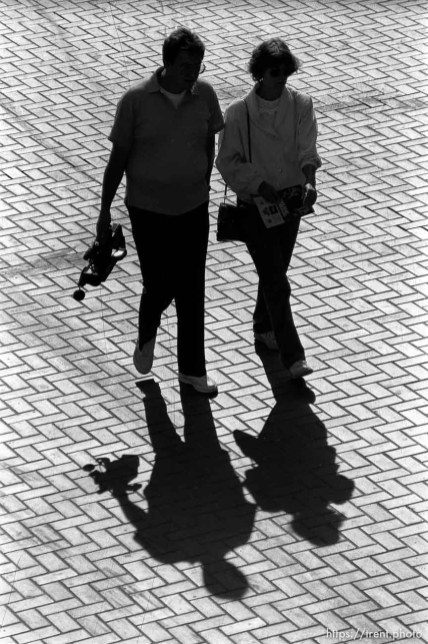 People walking in Hallidie Plaza.