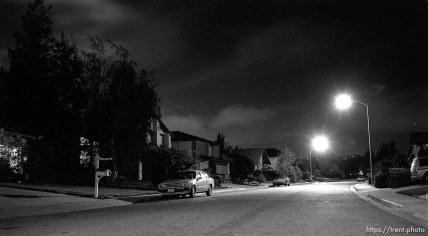 Santa Teresa Drive at night, looking north.