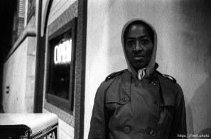 """Patrice"" on Telegraph Avenue at night."