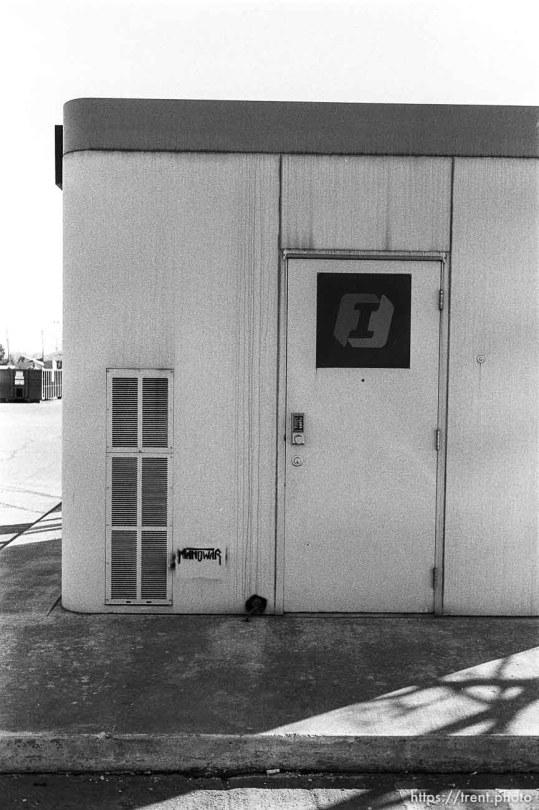 Manowar stencil on ATM building.