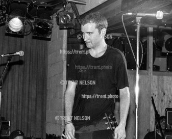 Ian MacKaye after racist skinhead charged the stage during Fugazi show at the Speedway Cafe.