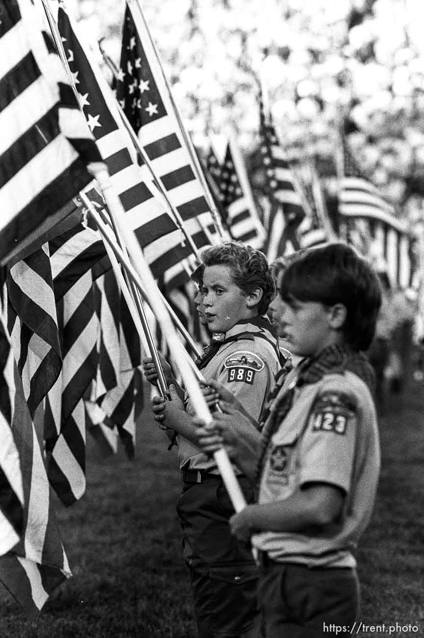 Boy scouts with U.S. flags at Stadium of Fire.