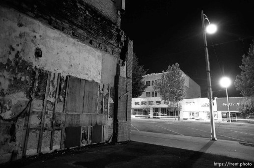 Old buildings, Kress Building on Center Street at night.