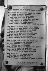 """""""When there's grand-dad's hand to hold"""" poem at Nana's house."""