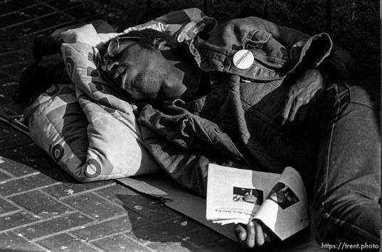 Homeless man sleeps