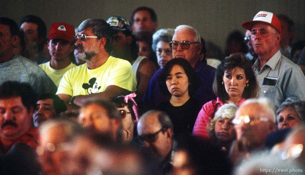 Midway residents at a public meeting on the Midway fire.