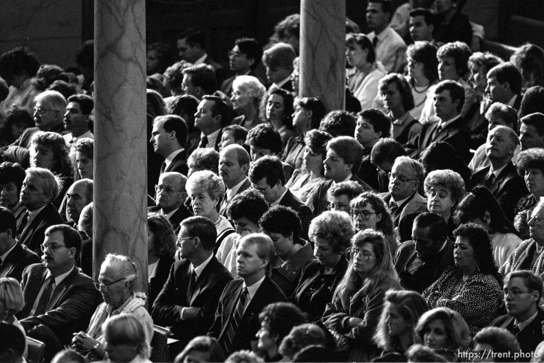 Mormons in the congregation at LDS General Conference.
