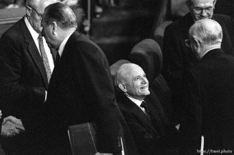 General Authorities (Howard W. Hunter seated) at LDS General Conference
