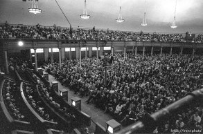 Crowd in tabernacle at LDS General Conference