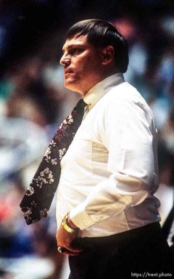 BYU coach Roger Reid at BYU vs. Weber basketball.