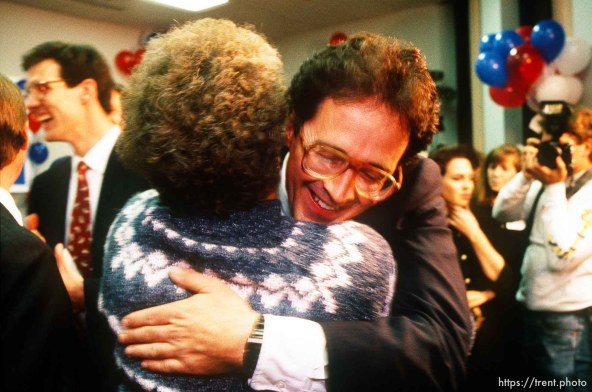 Bill Orton hugs his mother after winning a congressional race.