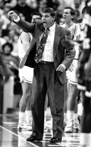 BYU basketball coach Roger Reid at BYU vs. Arizona State.