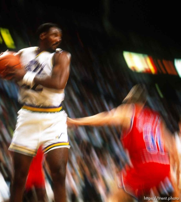 Karl Malone rebounds (slow shutter) at Utah Jazz vs. Washington Bullets.
