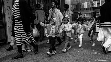 Kids walking in a line in the Mission District