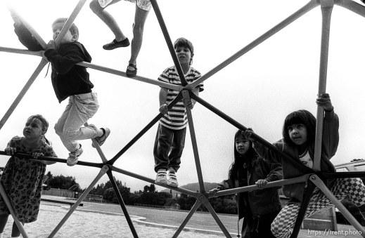Kids on playground at first day of kindergarten