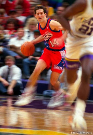 Jeff Hornacek (slow shutter) at Utah Jazz vs. Philadelphia 76ers.