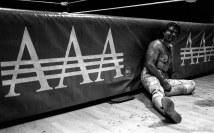 Bloody wrestler Wrestling action at Luche Libre pro-wrestling.
