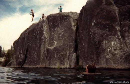 Jason McClean? jumping off cliff at Sword Lake