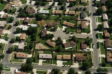 Suburban neighborhood from the air