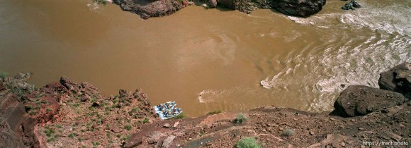 J-rig rafts on the river from above. Grand Canyon Flood project