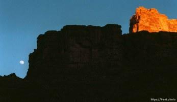 Full moon and canyon walls at sunset. Grand Canyon flood trip.