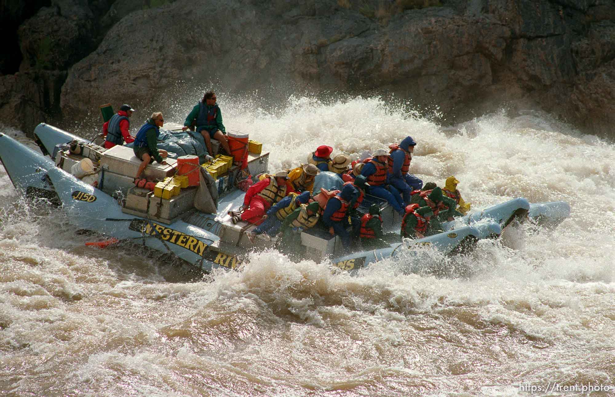 J-rig raft in Crystal Rapid. Grand Canyon flood trip.