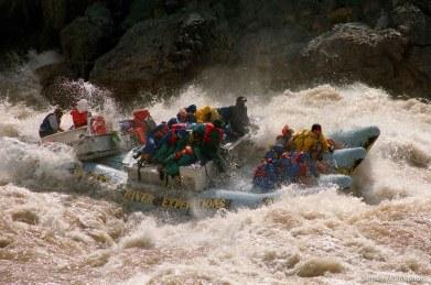 J-rig in Crystal Rapid. Grand Canyon flood trip.