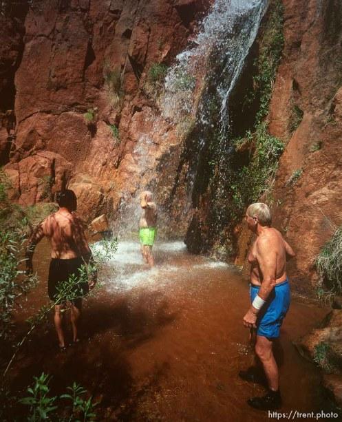 Blue water and rocks in Havisu Canyon. Grand Canyon flood trip.