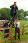 LDS missionaries taking photographs at Mormon Wagon Trail re-enactment