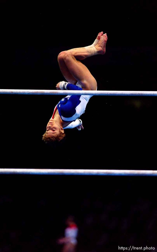 Kerri Strug on bars at Womens Team Gymnastics at the 1996 Summer Olympic Games