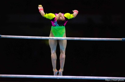 Girl on bars at Womens Team Gymnastics at the 1996 Summer Olympic Games