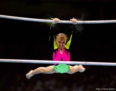 Gymnast on bars at Womens Team Gymnastics at the 1996 Summer Olympic Games