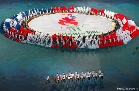 Flags and band at the Opening Ceremony at the 1996 Summer Olympic Games