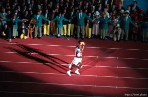 Evander Holyfield and ? with Olympic torch at the Opening Ceremony at the 1996 Summer Olympic Games