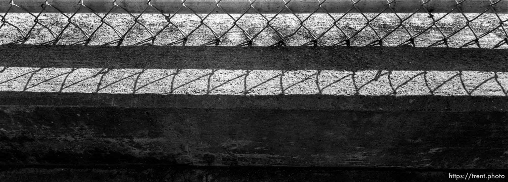Chain link fence and cement
