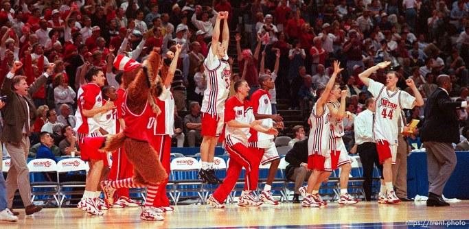 Utah team celebrates victory at Utah vs Stanford, NCAA Tournament.