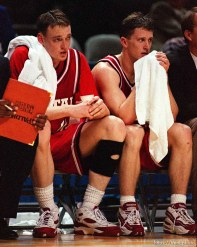 Keith Van Horn and Ben Caton on the bench in the closing minutes at Utah vs Kentucky, NCAA Tournament