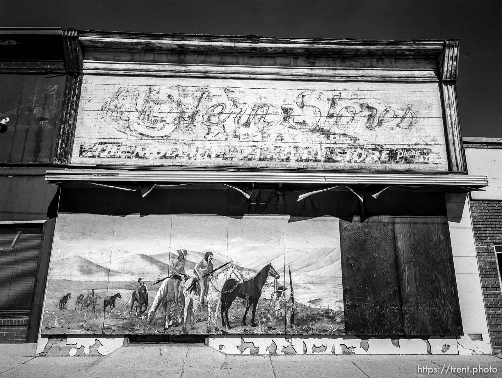 Storefront and mural.
