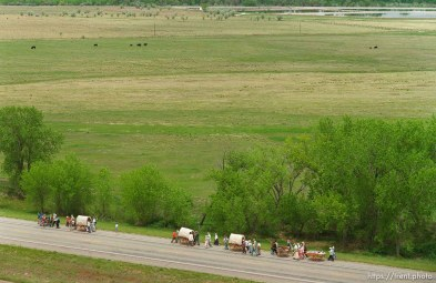 Handcart division of the Mormon Trail Wagon Train seen from a grain elevator at Jack's Bean Company.