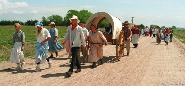Handcart pullers and walkers as the Mormon Trail Wagon Train stops for lunch.
