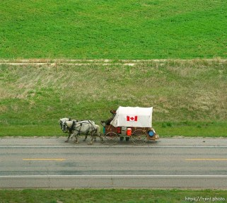 Canadian wagon. Mormon Trail Wagon Train from the top of a grain elevator at Jack's Bean Company.