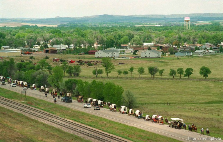 Mormon Trail Wagon Train seen from the top of a grain elevator at Jack's Bean Company.