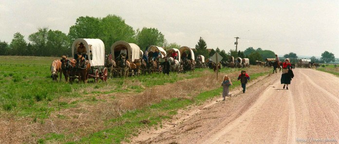 Wagons pull in for a lunch break on the Mormon Trail Wagon Train.